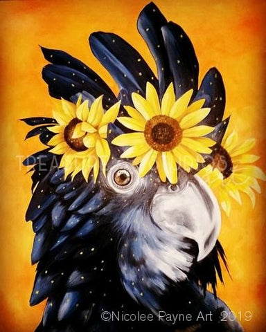 Sonny the Black Cockatoo by Nicolee Payne | Diamond Painting - Treasure Studios Art