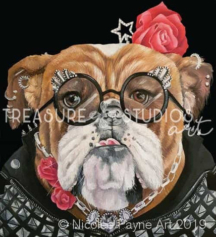 Rockstar the Bulldog by Nicolee Payne | Diamond Painting - Treasure Studios Art