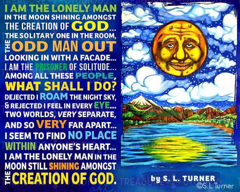 Lonely Man in the Moon WITH Poem by S.L. Turner | Diamond Painting