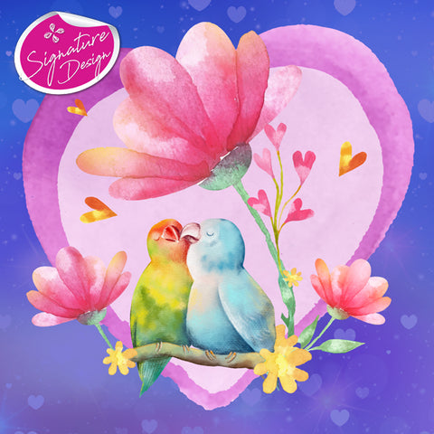 The Love Heart Birds | Signature Series | Diamond Painting - Treasure Studios Art