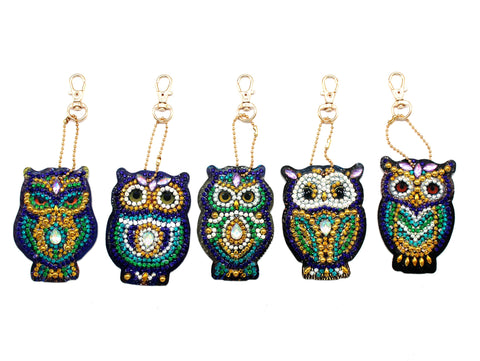 Set of 5 Owls | Key Chains | Diamond Painting - Treasure Studios Art