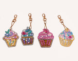 Set of 4 Cupcakes | Key Chains | Diamond Painting - Treasure Studios Art