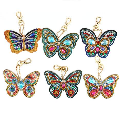 Set of 6  Butterflies | Key Chains | Diamond Painting - Treasure Studios Art