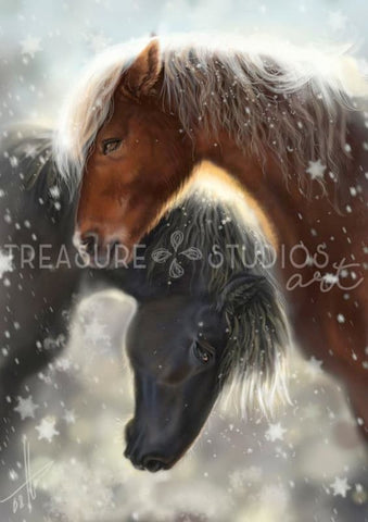 Iceland Horses by Polina Bivsheva | Diamond Painting - Treasure Studios Art