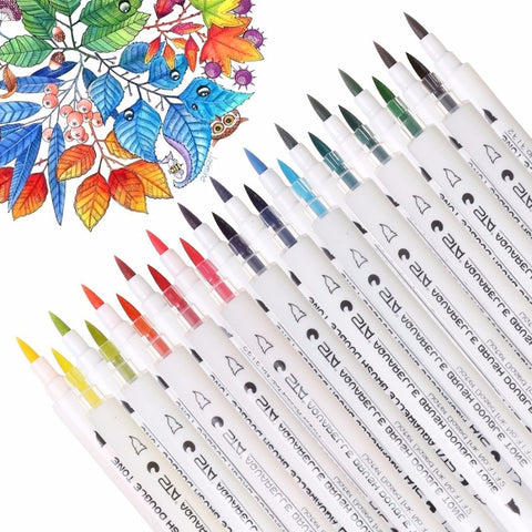 Water Color Gradient Marker Pens - 14PCS 28 Colors  | Artist Supplies - Treasure Studios Art