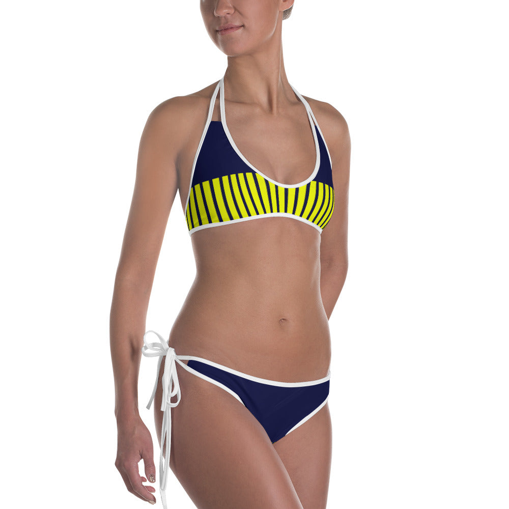 Womens Blue and Yellow Bikini
