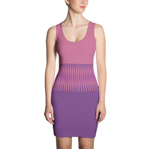 Women's Pink and Purple Fitted Dress