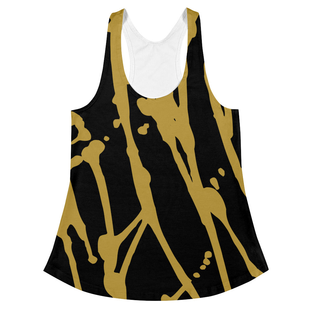 Paint Drip Gold Women's Racer-Back Tank