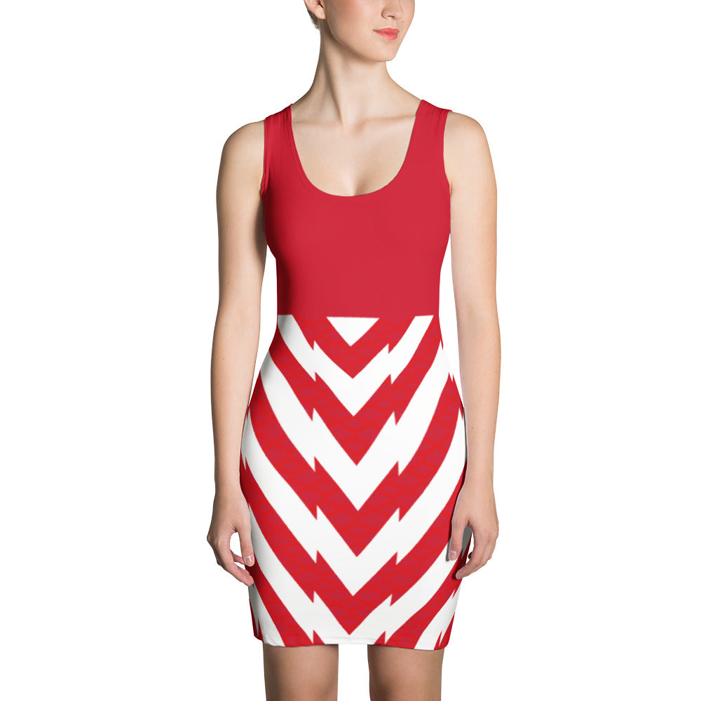 Women's Red and White Fitted Dress