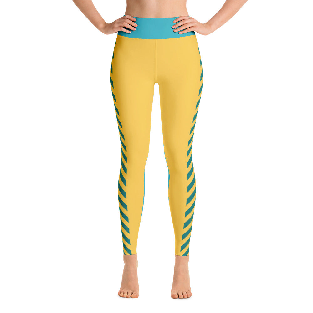 Graphic Yoga Leggins Teal, Green and Yellow