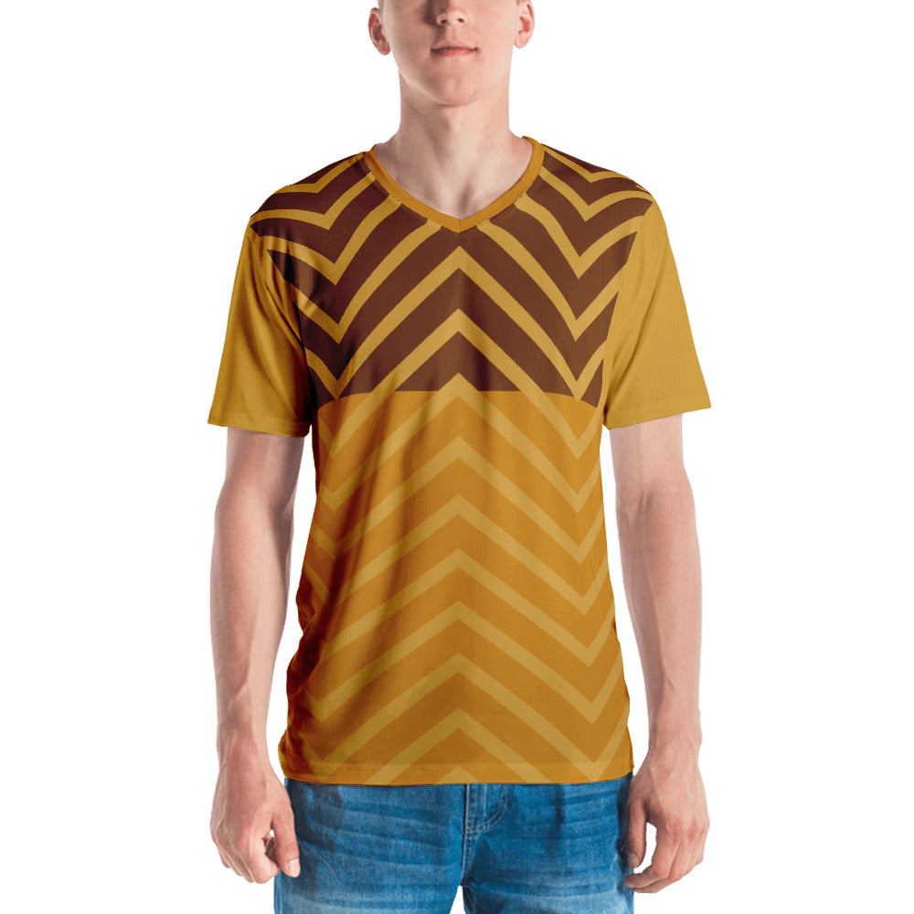 Men's V-Neck Brown and Camel Graphic T-shirt