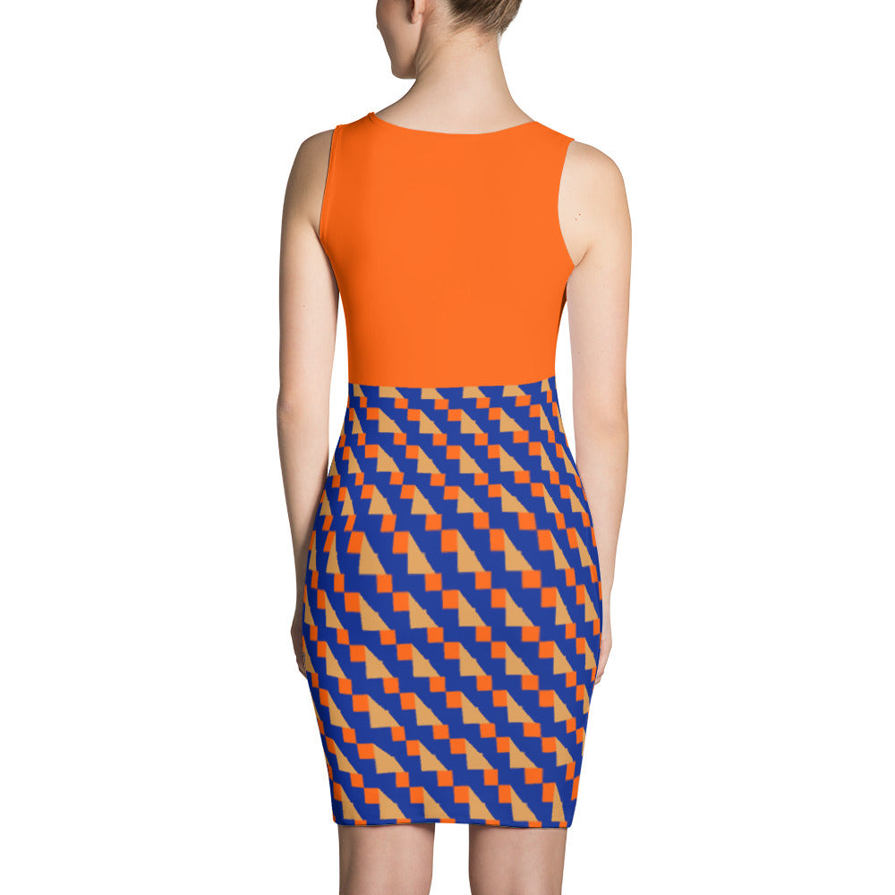 Women's Orange and Blue Fitted Dress