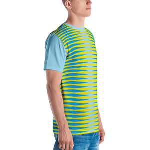 Sky Blue and Yellow Graphic Men's T-shirt