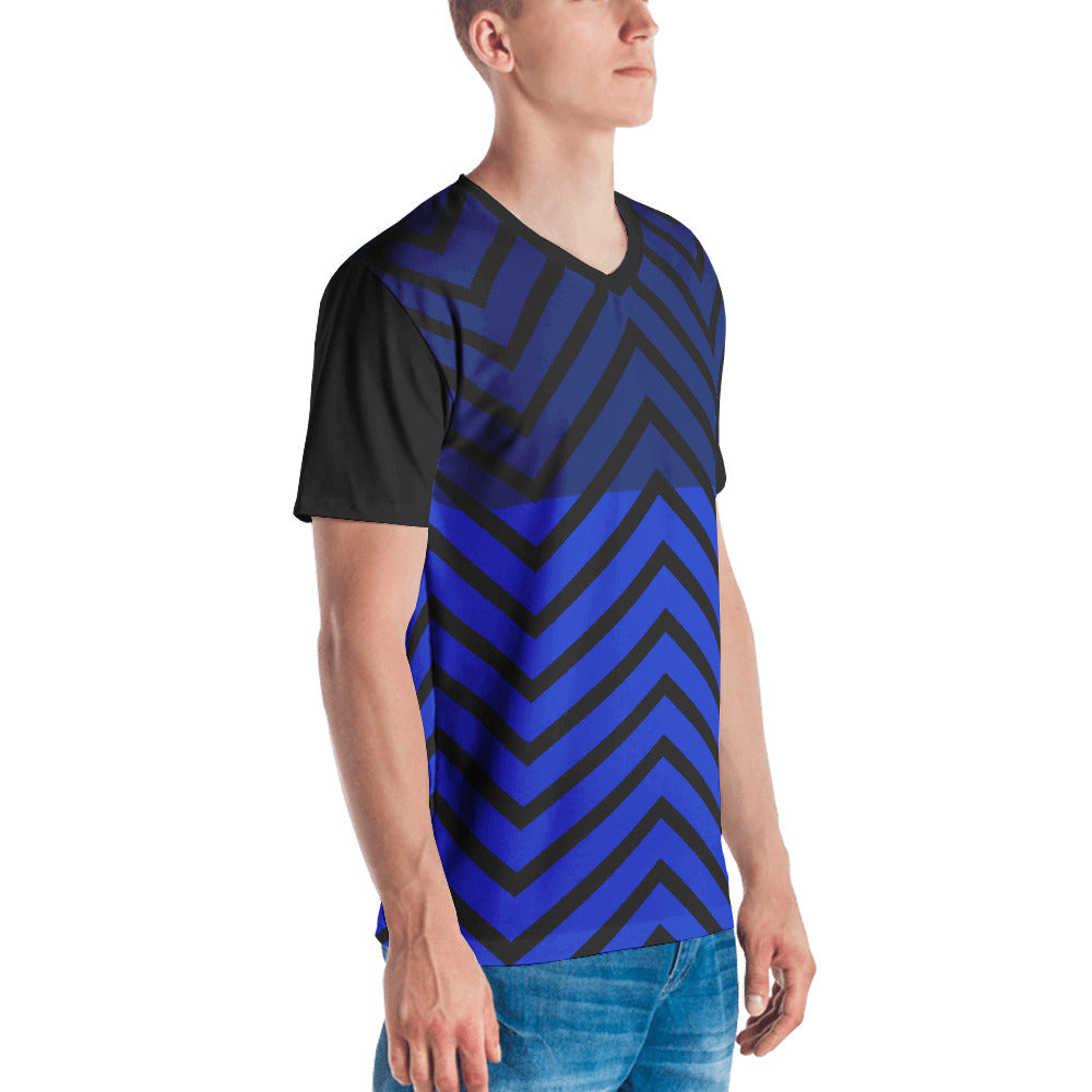 Men's V-Neck Black and Blue Graphic T-shirt