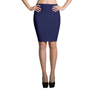 Blue Spandex Pencil Skirt