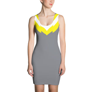 Women's Grey and Yellow Fitted Dress