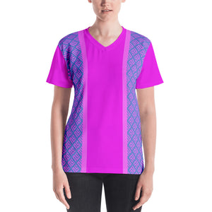 Pink and Blue Graphic Pattern Women's V-neck