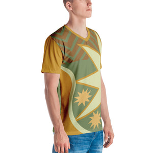 Men's V-Neck Brown and Green Celestial Graphic T-shirt