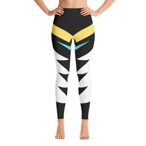 Black, White, Yellow and Teal Spandex Yoga Leggings
