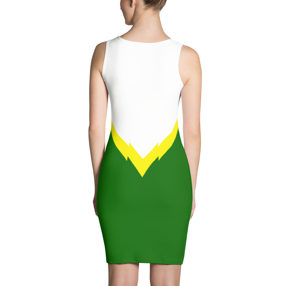 Women's Green and White Fitted Dress