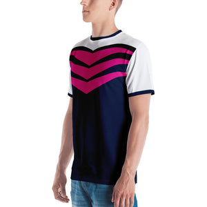 Chervon Blue and Pink Graphic Men's T-shirt