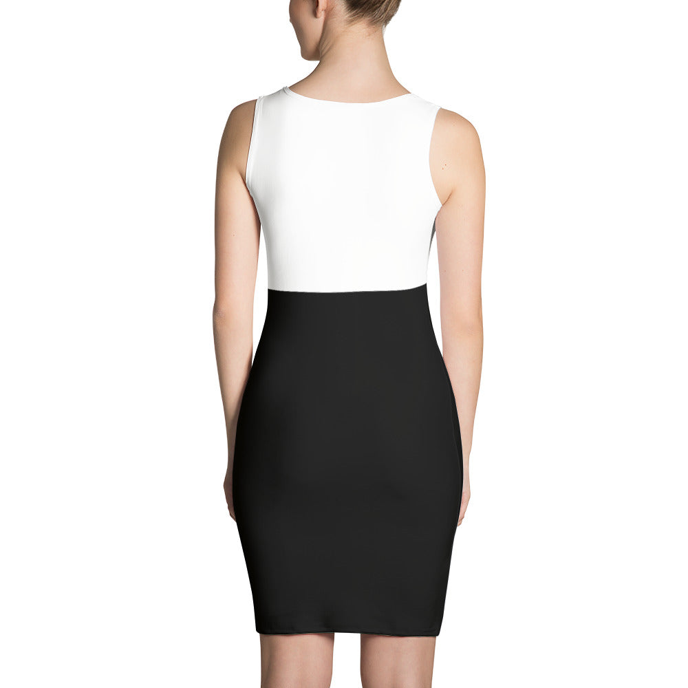 Women's Black and White Fitted Dress