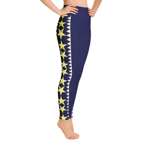 Yoga Leggings Blue, Yellow and Cranberry Graphic Pattern