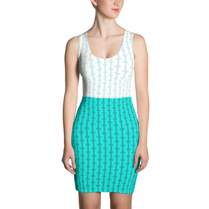 Women's Teal and White Fitted Dress
