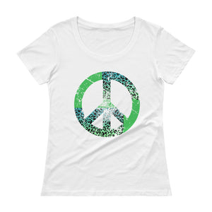Peaceful Black Ladies' Scoop-Neck T-Shirt