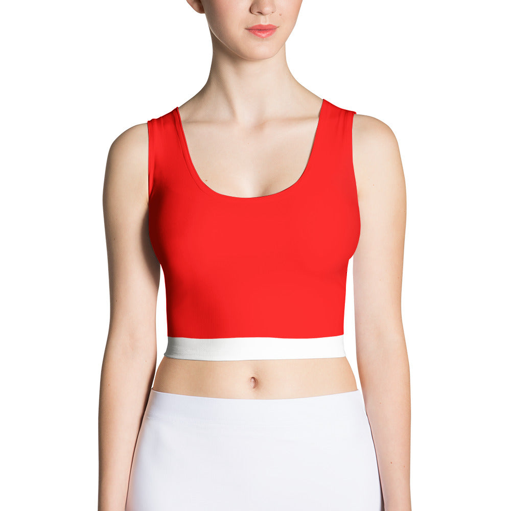 Red and White Spandex Crop Top