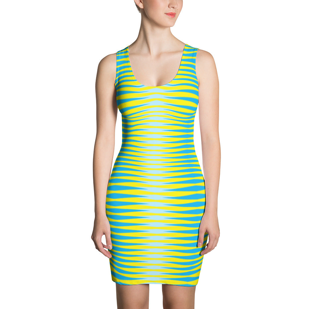Women's Green Yellow Fitted Dress