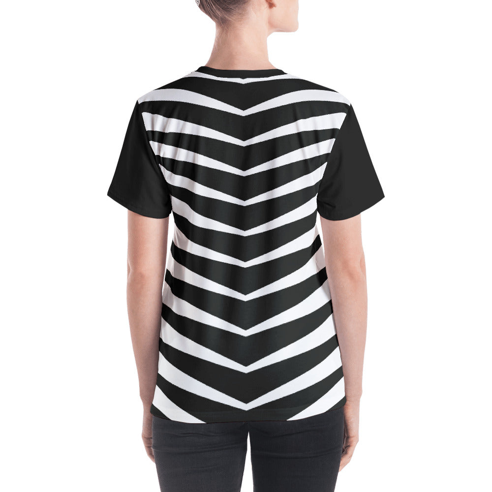 Women's Black and White Graphic V-neck T-Shirt
