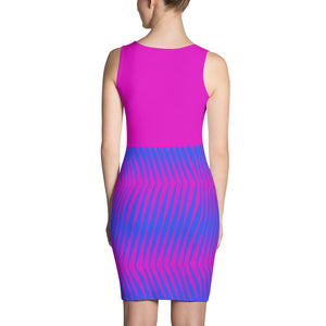 Women's Magenta and Blue Fitted Dress