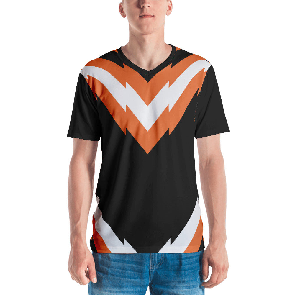 Men's V-Neck Orange and Black Graphic T-shirt