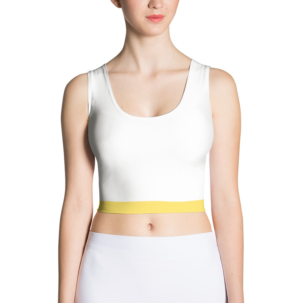 White and Yellow Spandex Crop Top
