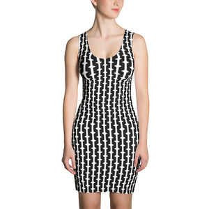 Women's Black and White Diamond Fitted Dress