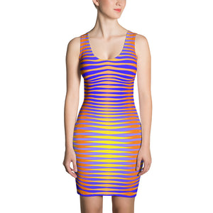 Women's Orange Blue and Yellow Fitted Dress