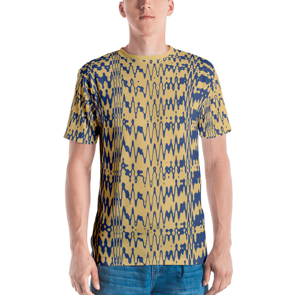 Beige and Blue Graphic Men's T-shirt