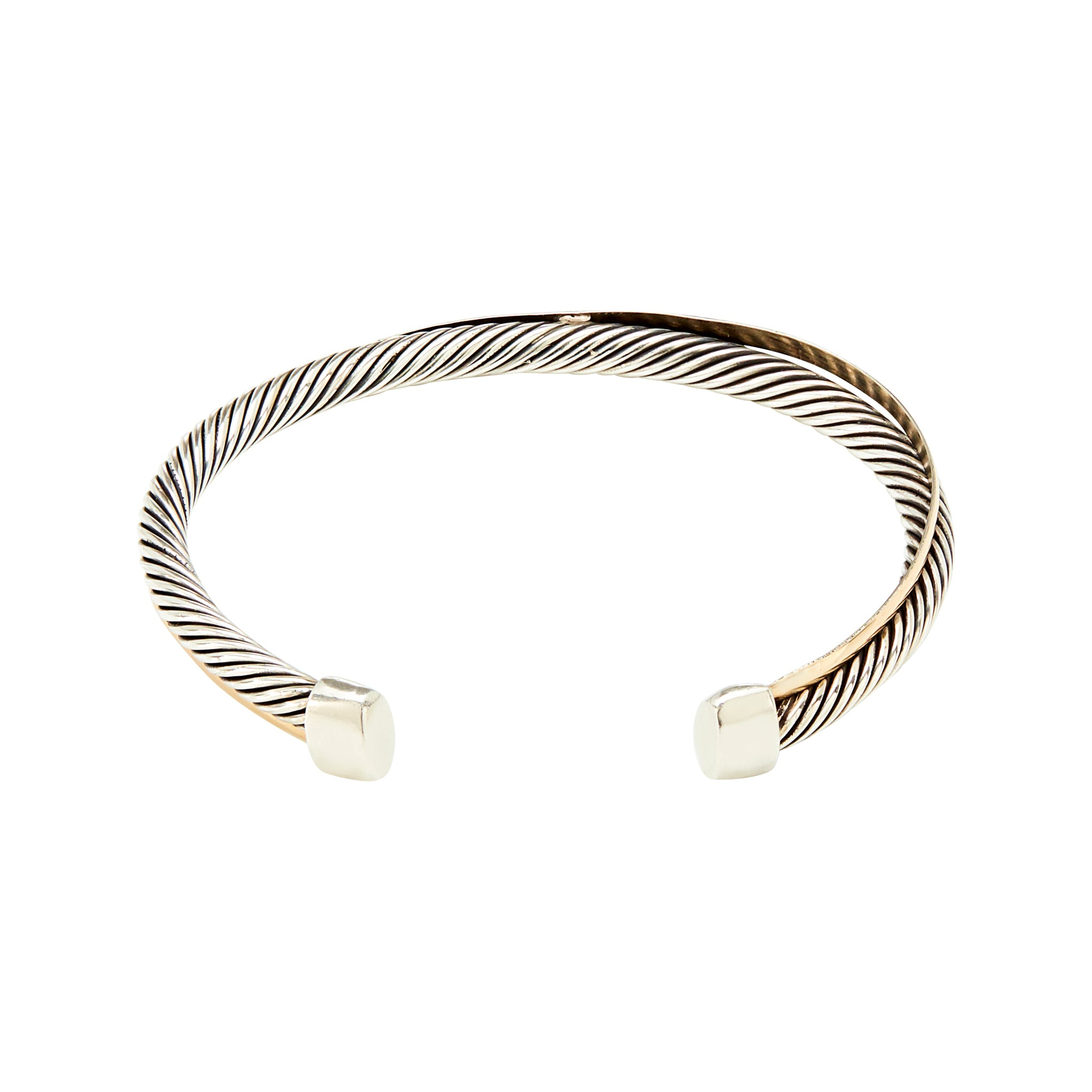 c2388bfb755 Bicolour Slim Gold Twisted Cuff Bracelet - Sterling Silver and 14k Solid  Gold