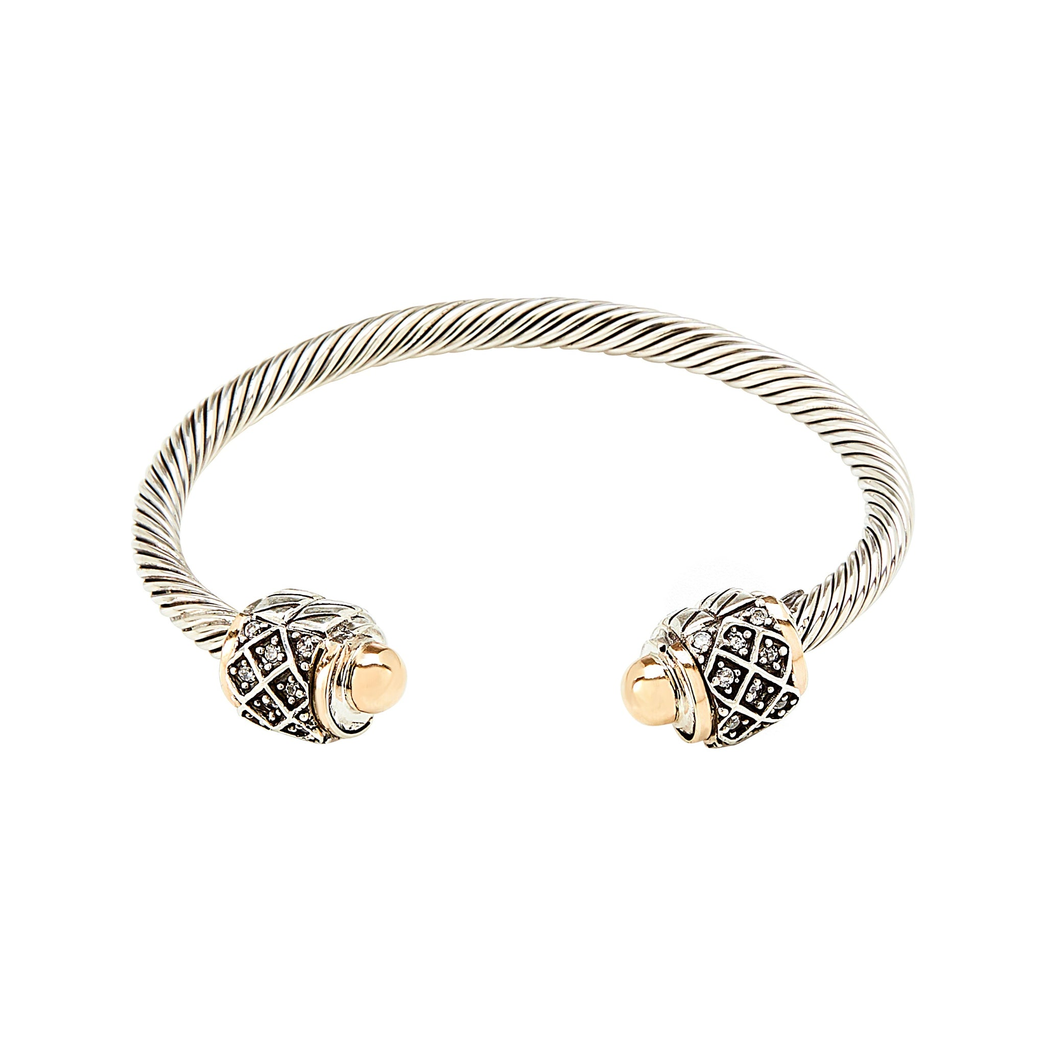 3b92f158ee8 Bicolour Criss Cross Twisted Cuff Bracelet - Sterling Silver and 14k Solid  Gold