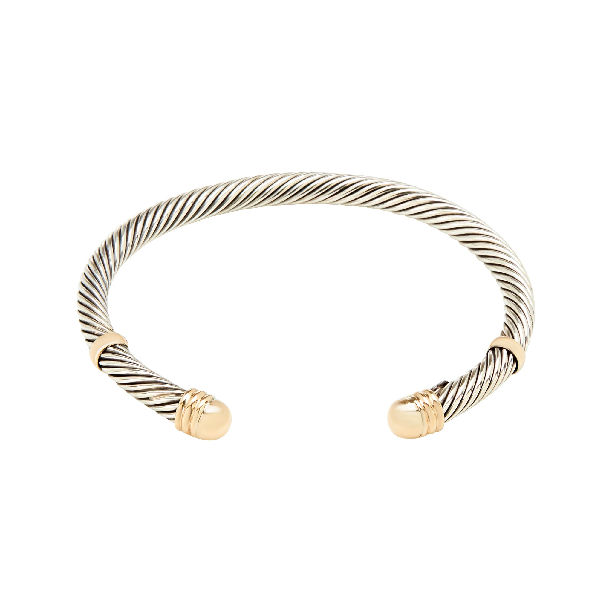 19e8759e7f2 Bicoulour Twisted Cuff Bracelet - Sterling Silver and 14k Solid Gold ...