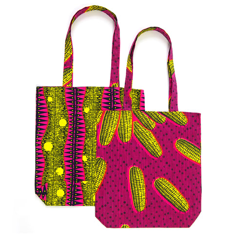 African Print Tote - YELLOW CORNCOBS