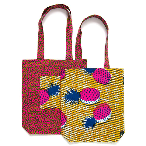 African Print Tote - PINK PINEAPPLE