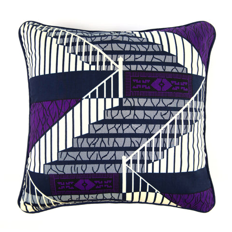 African Print Cushion - PURPLE STAIRS