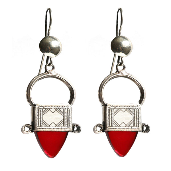 Tribal Tuareg Earrings - Red