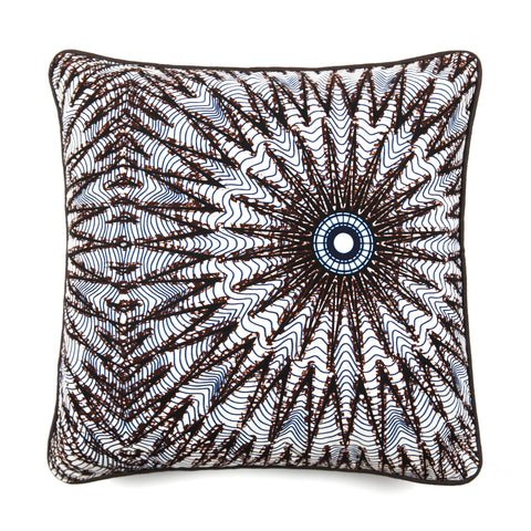 African Print Cushion - WHITE STAR