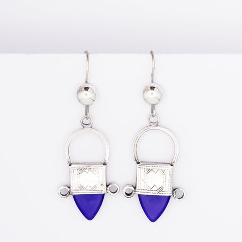 Tribal Tuareg Earrings - Blue