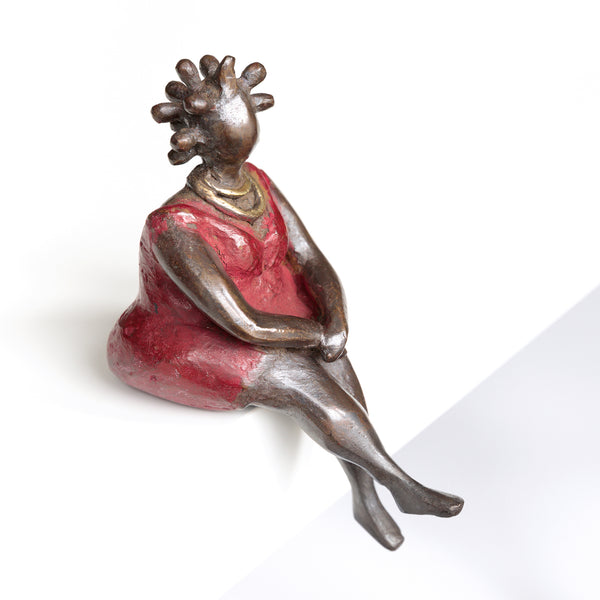 African Bronze Mama - Mariam in Red