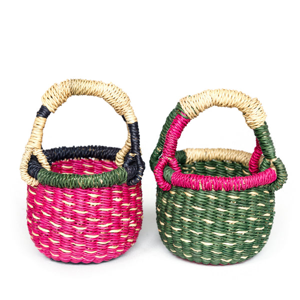 A pair of Mini Bolga Baskets - No. 1