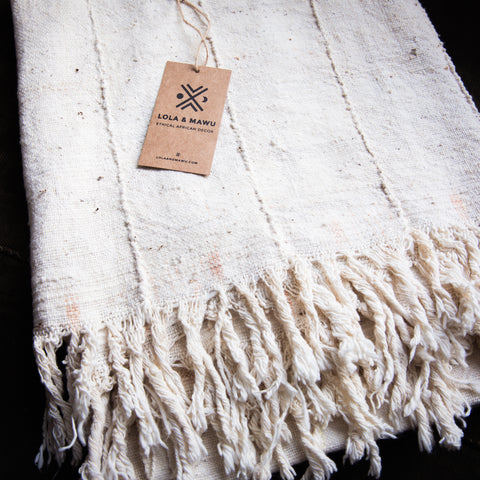 HANDSPUN COTTON THROW - NATURAL